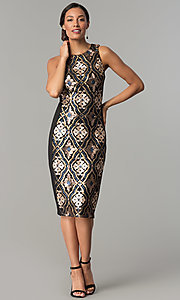 Image of sequin-print short black holiday party dress. Style: JX-1XAJ281Q Detail Image 2