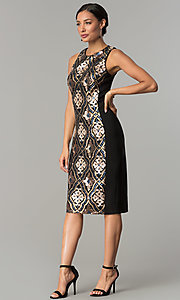 Image of sequin-print short black holiday party dress. Style: JX-1XAJ281Q Detail Image 3