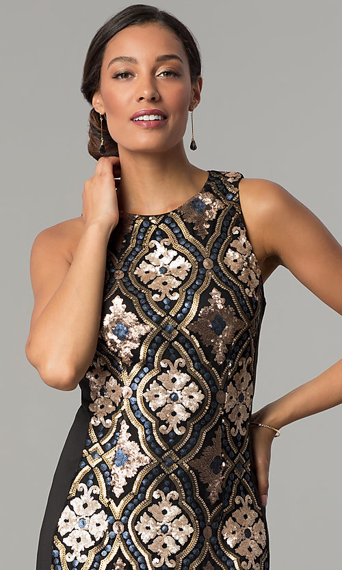 Image of sequin-print short black holiday party dress. Style: JX-1XAJ281Q Detail Image 1