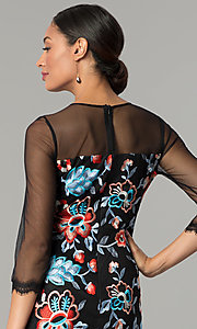Image of knee-length embroidered wedding-guest party dress. Style: JX-1ZZD196Q Detail Image 2