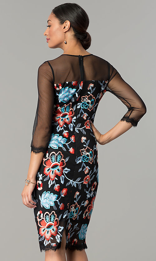 Image of knee-length embroidered wedding-guest party dress. Style: JX-1ZZD196Q Back Image