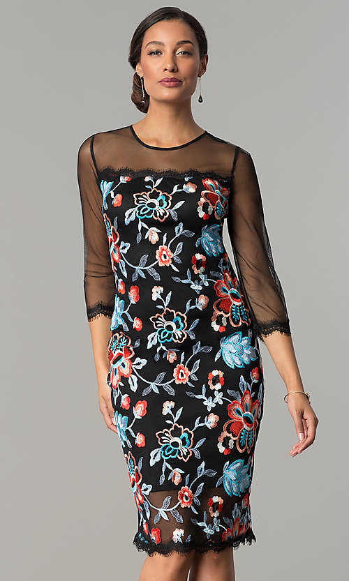 Image of knee-length embroidered wedding-guest party dress. Style: JX-1ZZD196Q Front Image