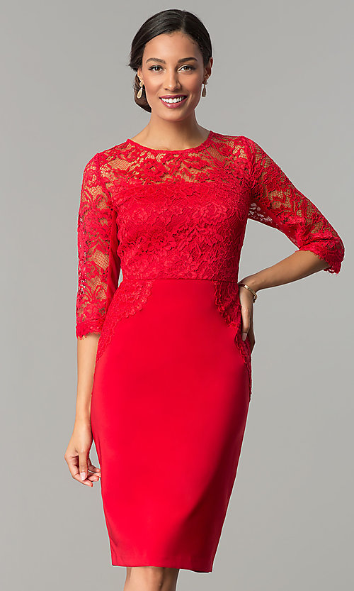 Ruby Red Short Wedding Guest Party Dress With Lace