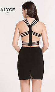 Image of strappy-back Alyce two-piece short homecoming dress. Style: AL-4470 Back Image