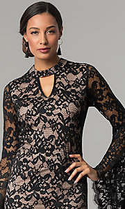 Image of bell-sleeve choker-collar lace wedding-guest dress. Style: JX-1ZBK295Q Detail Image 1