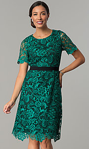 Image Of Emerald Green Short Lace Wedding Guest Party Dress Style Jx