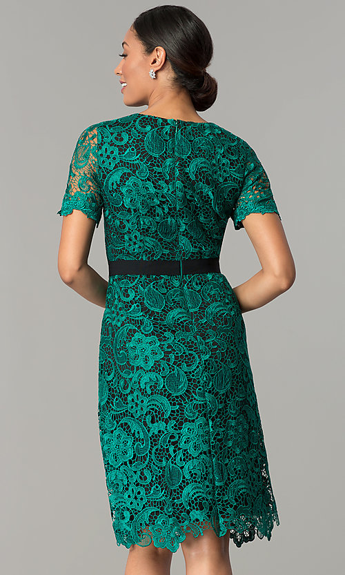 Short Lace Emerald Green Wedding Guest Party Dress