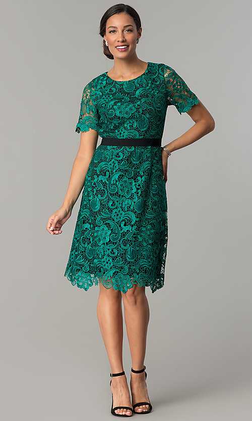 short lace emerald green weddingguest party dress
