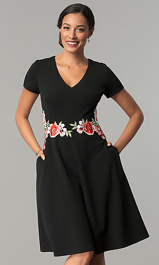 Short Black A-Line Cocktail Party Dress with Pockets