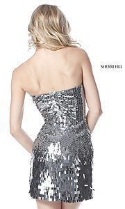 Image of Sherri Hill sequin short strapless homecoming dress. Style: SH-51547 Back Image