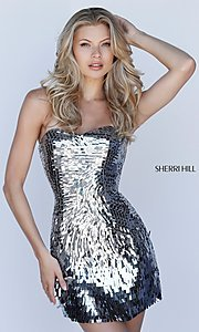 Image of Sherri Hill sequin short strapless homecoming dress. Style: SH-51547 Detail Image 1
