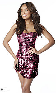 Image of Sherri Hill sequin short strapless homecoming dress. Style: SH-51547 Detail Image 3