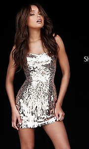 Image of Sherri Hill sequin short strapless homecoming dress. Style: SH-51547 Detail Image 2