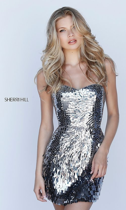 Image of Sherri Hill sequin short strapless homecoming dress. Style: SH-51547 Front Image