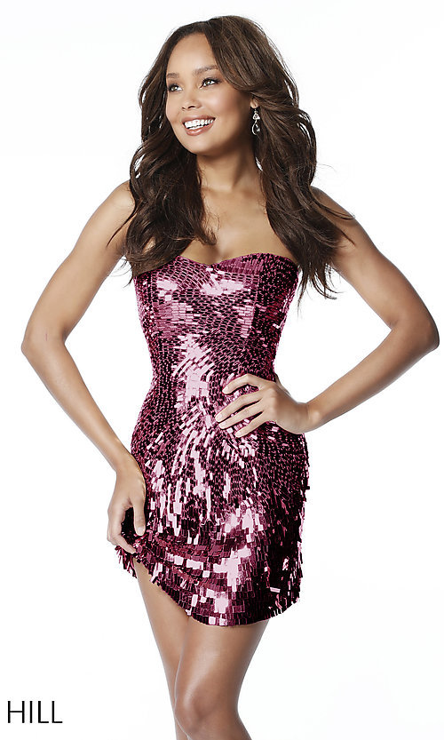 79f3d2ceb5670 Image of Sherri Hill sequin short strapless homecoming dress. Style:  SH-51547 Detail