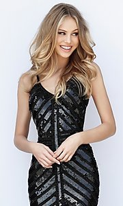 Image of sequin v-neck Sherri Hill homecoming party dress. Style: SH-51363 Detail Image 2