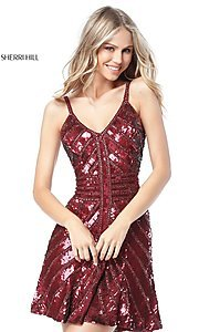 Image of sequin v-neck Sherri Hill homecoming party dress. Style: SH-51363 Front Image