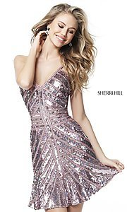 Image of sequin v-neck Sherri Hill homecoming party dress. Style: SH-51363 Detail Image 1