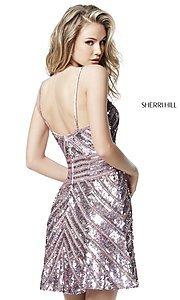Image of sequin v-neck Sherri Hill homecoming party dress. Style: SH-51363 Back Image