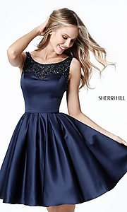 Image of open-back navy blue Sherri Hill homecoming dress. Style: SH-51524 Front Image