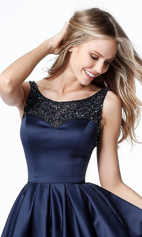 Image of open-back navy blue Sherri Hill homecoming dress. Style: SH-51524 Detail Image 1
