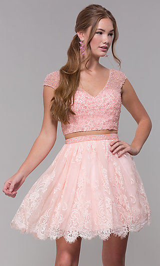 a2d1ce5ec Short-Sleeve Two-Piece Sherri Hill Homecoming Dress