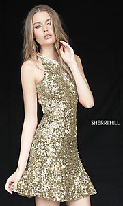 Image of beaded-back sequin Sherri Hill homecoming dress. Style: SH-51431 Detail Image 2