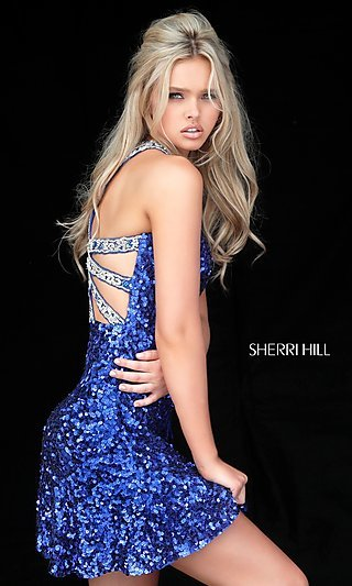 Beaded-Back Sequin Sherri Hill Homecoming Dress