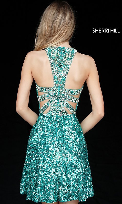 Image of beaded-back sequin Sherri Hill homecoming dress. Style: SH-51431 Back Image