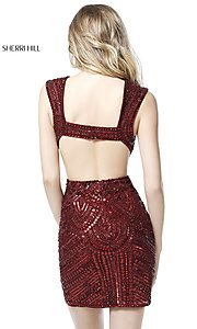 Image of open-back Sherri Hill homecoming dress with cut out. Style: SH-51362 Back Image