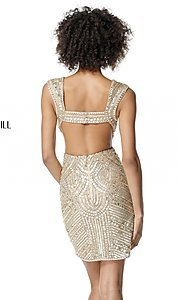 Image of open-back Sherri Hill homecoming dress with cut out. Style: SH-51362 Detail Image 2