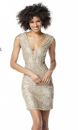 Open-Back Sherri Hill Homecoming Dress with Cut Out