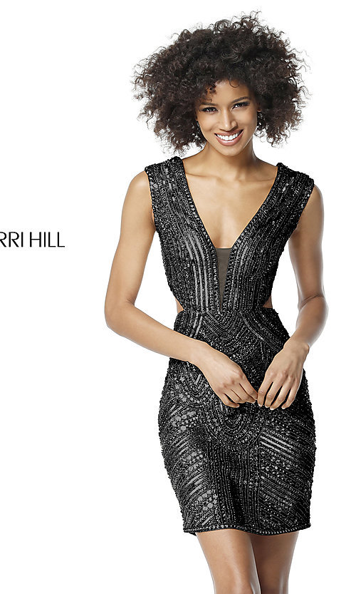 Image of open-back Sherri Hill homecoming dress with cut out. Style: SH-51362 Detail Image 3