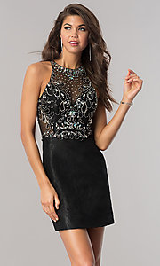 Image of jeweled illusion-bodice short lace homecoming dress.  Style: BL-PG071 Front Image