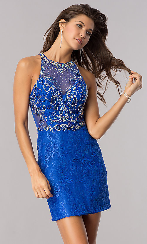 Image of jeweled illusion-bodice short lace homecoming dress.  Style: BL-PG071 Detail Image 2