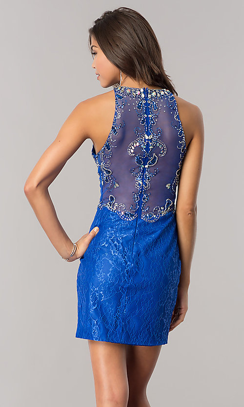 Image of jeweled illusion-bodice short lace homecoming dress.  Style: BL-PG071 Detail Image 3