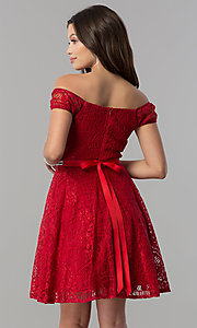 Image of belted off-the-shoulder short lace homecoming dress. Style: MCR-1553 Back Image