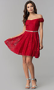 Image of belted off-the-shoulder short lace homecoming dress. Style: MCR-1553 Detail Image 1