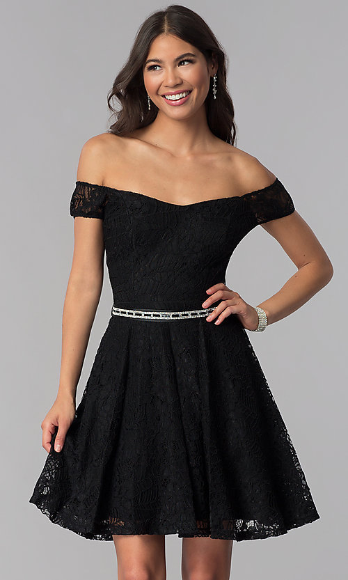 Image of belted off-the-shoulder short lace homecoming dress. Style: MCR-1553 Front Image
