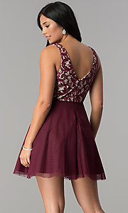 Image of lace-bodice short homecoming dress with sequins. Style: DMO-J318367 Back Image