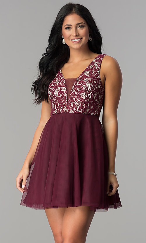 Image of lace-bodice short homecoming dress with sequins. Style: DMO-J318367 Front Image
