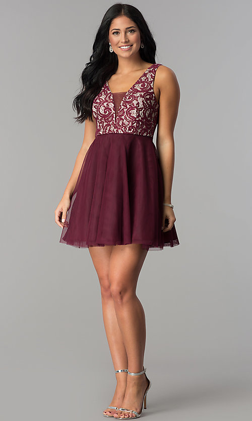 Image of lace-bodice short homecoming dress with sequins. Style: DMO-J318367 Detail Image 2