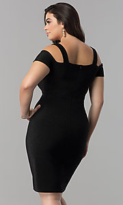 Image of empire-waist short cold-shoulder cocktail dress. Style: MB-MX1374 Back Image