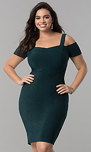 Image of empire-waist short cold-shoulder cocktail dress. Style: MB-MX1374 Front Image