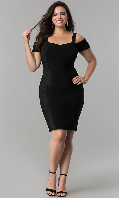 Image of empire-waist short cold-shoulder cocktail dress. Style: MB-MX1374 Detail Image 2