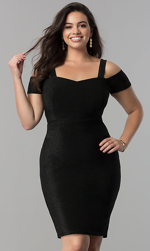 Image of empire-waist short cold-shoulder cocktail dress. Style: MB-MX1374 Detail Image 1