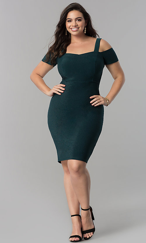 Image of empire-waist short cold-shoulder cocktail dress. Style: MB-MX1374 Detail Image 3