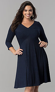 Image of plus-size v-neck party dress with sleeves.  Style: MB-MX1372 Front Image