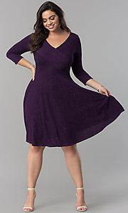 Image of plus-size v-neck party dress with sleeves.  Style: MB-MX1372 Detail Image 1
