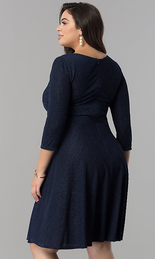 Image of plus-size v-neck party dress with sleeves.  Style: MB-MX1372 Back Image